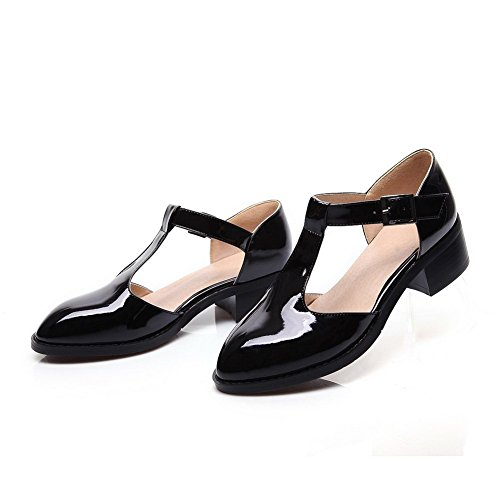 Adee Mesdames pointed-toe low-heels polyuréthane Pompes Chaussures Noir - noir