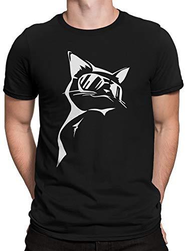 vanVerden Herren T-Shirt Süße Coole Katze mit Sonnenbrille, Color:Schwarz, Größe:L