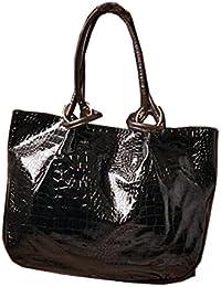Aimerfeel-femmes noir ou rouge brillant aspect cuir imprimé crocodile grand sac à main