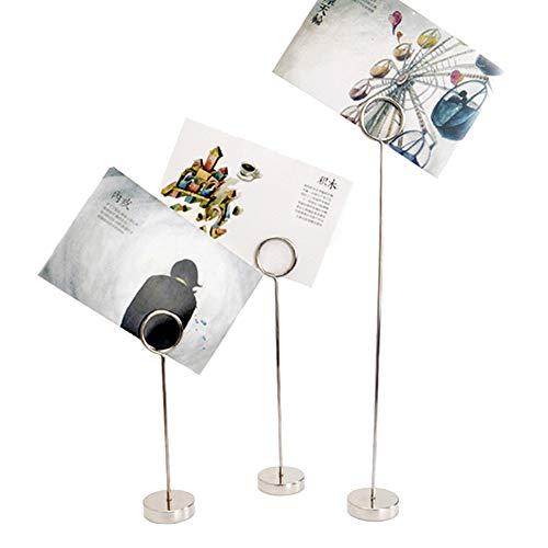 AchidistviQ Kartenhalter, 10 Stück, Metall, für Party, Tischnummern, Karten, Ringform, Foto-Notizen, Memoständer, Clip Multi