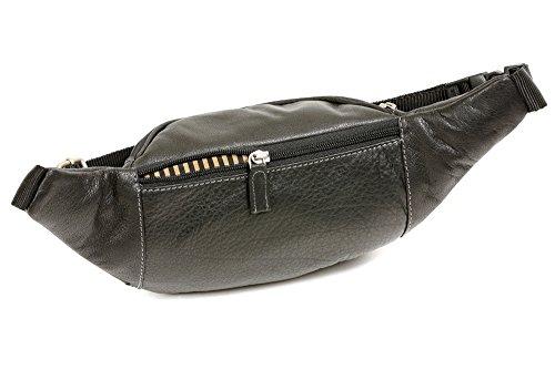 Bolsa de cinturón muy alta LEAS, Piel auténtica del búfalo, negro - ''LEAS Travel-Line''