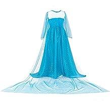 URAQT Niñas Traje del Vestido Azul,Traje de la Nieve Elsa Vestido, Infantil Disfraz de Princesa, para Fiesta Carnaval Cumpleaños