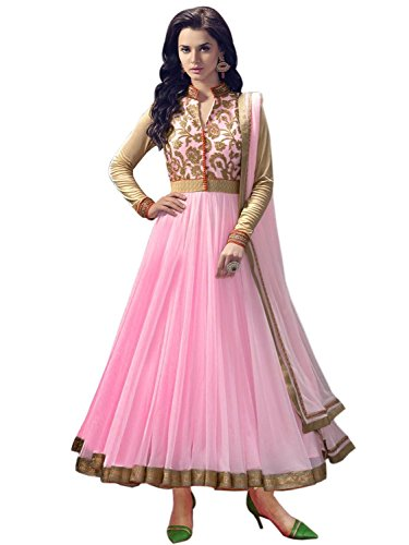 Seller King Net Anarkali Semi Stiched Dress Material (Dress_170_FreeSize_Pink)
