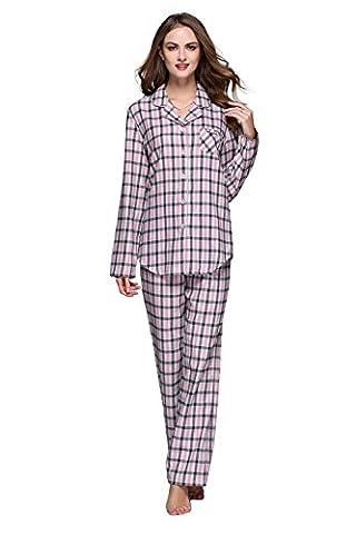 Women's Cotton Plaid Pajamas Set Long Sleeve Button Down Flannel