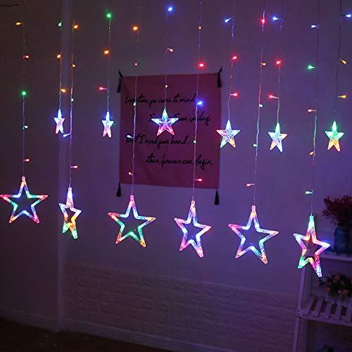 KERULA Weihnachten Sterne Bunte LED Lichterkette 2m 138er, LED Sternenvorhang 8 Modi, 12 bunte Sterne Lichtervorhang für Weihnachten Deko Party Festen, blinkend (RGB) [Energieklasse A+] (Mehrfarbig)