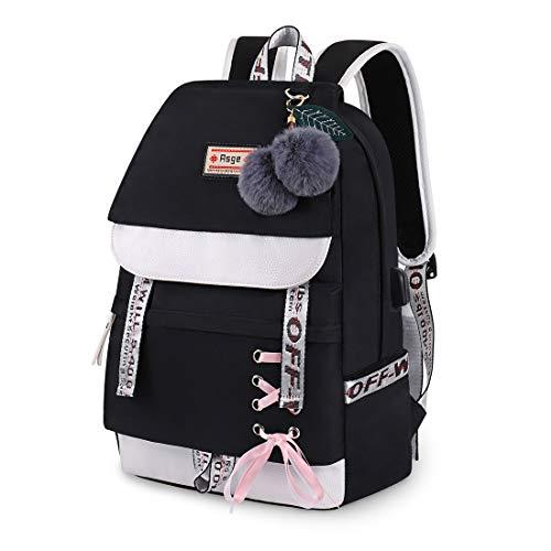 JUND Damen Mode Schultasche Kawaii Druck Rucksack Mädchen Lässig Wasserdicht Backpack Schule Teenager Daypack (schwarz)
