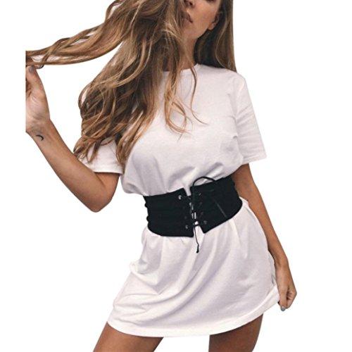 WOCACHI Damen Sommer Kleider Mode Frauen Weiß Kurzarm O-Neck Party Cocktail Mit Gürtel Kurz Mini Kleid Weiß