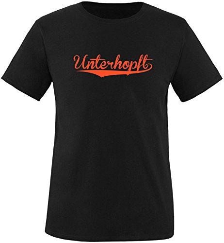 EZYshirt® Unterhopft Herren Rundhals T-Shirt Schwarz/Orange