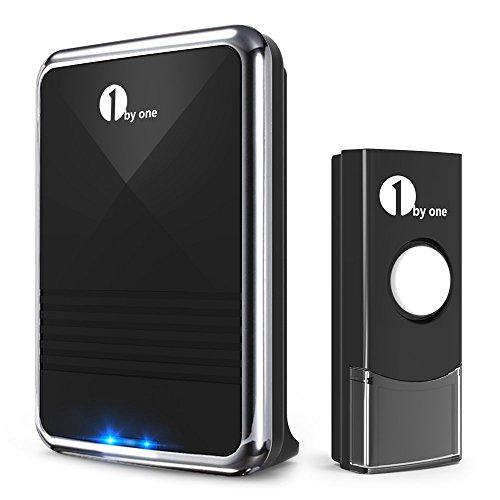 1byone Easy Chime Ensemble de sonnettes sans fil avec son qualité CD et flash LED, 36mélodies à choisir, noir, noir, O00QH-0013