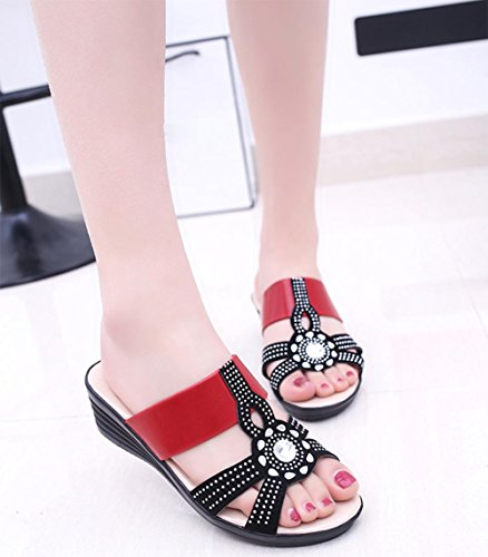 Fräulein Xia Ji Diamant Hang mit lässigen Sandalen und Pantoffeln rutschfester Hausschuh große Yards Red