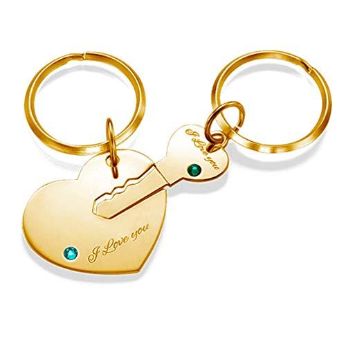 Paar-Stich Keychain Herz und Schlüssel Keychain für Paare(vergoldete Basis F)