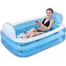 Ali Aufblasbare Badewanne Falten Wanne Dicker Erwachsene Wanne Kinder Waschbecken Kunststoff Bad Fässer ( Farbe : Blau )