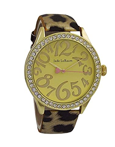 Womens Fashion Watch Leopard Pattern Leather Strap Gold Tone Dial