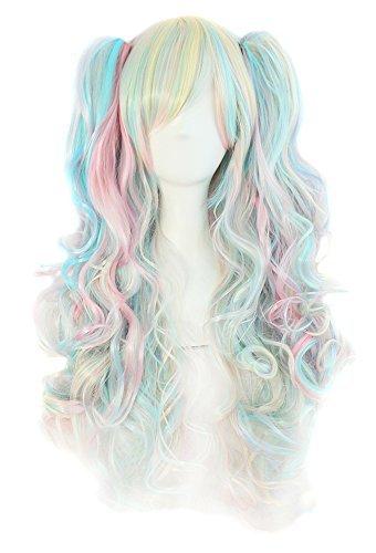 MapofBeauty farbige Lolita lange lockige geheftet auf Pferdeschwanz Cosplay Perücke (rosa/blau/blond) (Blonde Und Blaue Perücke)