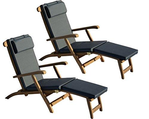 Liegestuhl Teak Holz Massiv Deckchair // 2 Stück // Inkl. Auflagen Grau