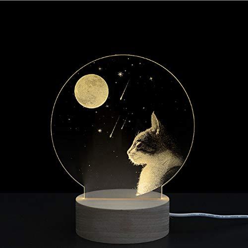 Lámpara de mesita de noche de acrílico con grabado de gato Moonlight 3D popular regalo de San Valentín lámpara de mesa pequeña de madera 190 * 150 * 100 mm