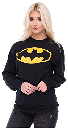 Damen Sweater Pulli Pullover Sweatshirt Batman Fledermaus Frontprint Comic Superheld (Für Superhelden Frauen Outfits)