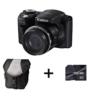 Canon PowerShot SX500 IS Digital Camera - Black + Case and 16GB Memory Card (16.0 MP, 30x Optical Zoom) 3.0 inch LCD