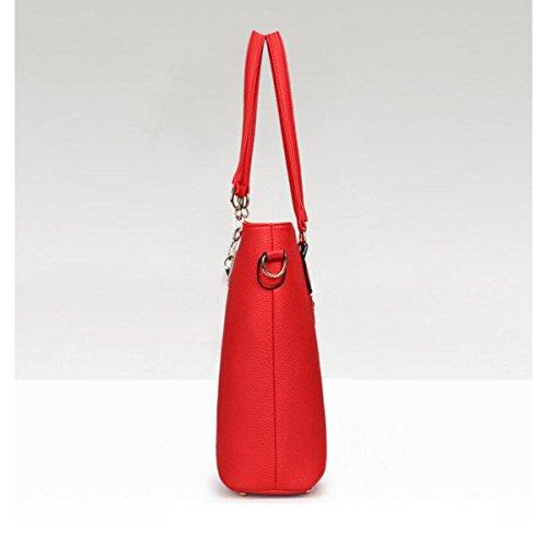 Lady Modello Lychee Sei Set Di Sub-package Borsa Borsa A Tracolla Borsa A Mano Portafoglio Portachiavi Moda Red