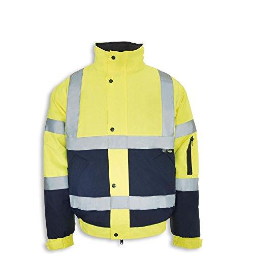 Zwei-ton-polsterung (Army And Workwear 2Ton Hi Viz Wasserdicht Gepolsterte Bomber Jacke Herren Mantel Workwear Sicherheit Gr. Large, Yellow/Navy)
