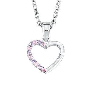Prinzessin Lillifee Mädchen-Kette 35+3cm längenverstellbar mit Anhänger Herz 925 Sterling Silber Zirkonia rosa lila
