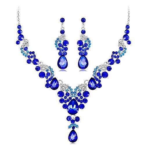 LABAICAI 2019 Neue modetrend Exquisite kristall indische Halskette Ohrringe Armband Ring schmuck Set Frauen Braut Braut Hochzeit kostüm schmuck (Metal Color : 2)
