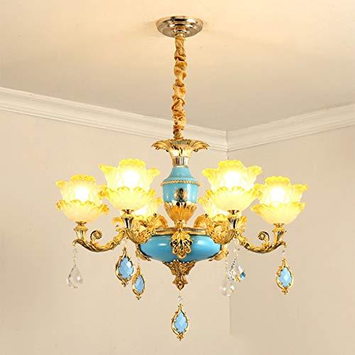 Bronze-sechs Leichte Runde Anhänger (Kronleuchter Continental Wohnzimmer Schlafzimmer Esszimmer Atmosphärischer American Duplex House Villa Kristall Kronleuchter (Elegant Blau) A + (Größe: 6-Kopf))