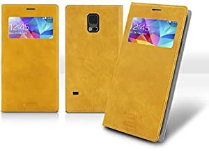Note3 View Flip Case, Samsung Galaxy Note 3 Soft Leather Cover, 9 Colors - Retail Packaging (Mustard Yellow)