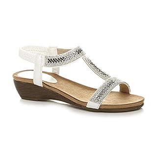 Ajvani Womens Ladies mid Heel Wedge t-bar Slingback Diamante Summer Sandals Size 7 40