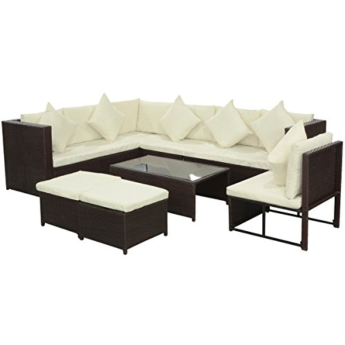 LD Poly Rattan Garden Sofa Set 29-Piece Brown