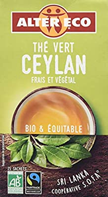 Alter Eco Thé Vert Ceylan Bio et Équitable 25 Infusettes
