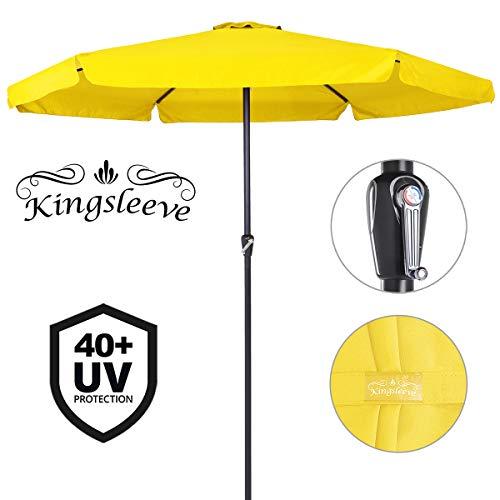 Deuba Kingsleeve Sonnenschirm 330cm Aluminium mit UV-Schutz 40+ wasserabweisend gelb - Kurbelschirm Ampelschirm Marktschirm Gartenschirm Terrassenschirm
