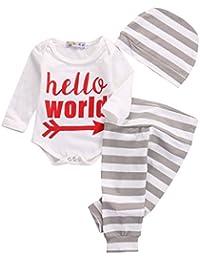 Bebé recién nacido bebé Niños Niñas Traje impreso Pelele Tops pantalones ropa + gorro