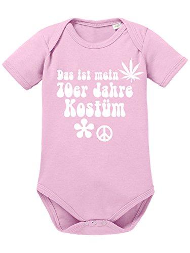 clothinx Baby Body Unisex Karneval Das ist mein 70er Jahre Kostüm Hellrosa/Weiß Größe 62-68 (Mutter-baby Kostüme)