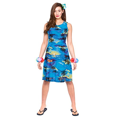 Hawaii Dress - Short Blue Palm (Kurze Print Palm)