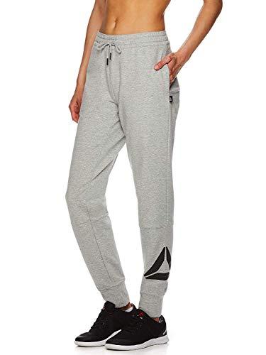 Reebok Women's Slim Fit Jogger Pants - Mid Rise Waist Athleisure Sweatpants for Women - Grey Heather Metro 2.0, Medium