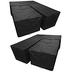 Woodside Black L Shape Outdoor Dining Patio Set Cover Medium Right Side Long