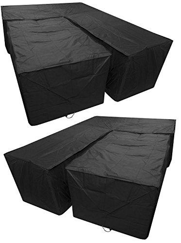 Woodside Black L Shape Outdoor Dining Patio Set Cover Medium Left Side Long