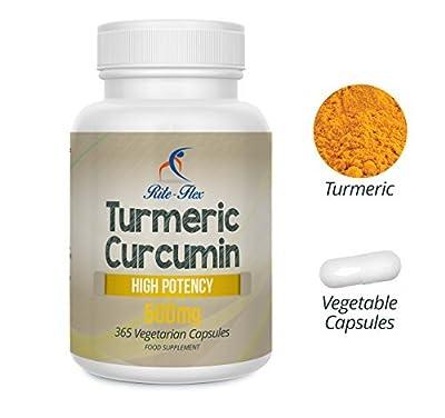 Turmeric Curcumin 500mg 365 Vegetarian Vegan Capsules High Potency, One Year Supply by Rite Flex from Rite-Flex