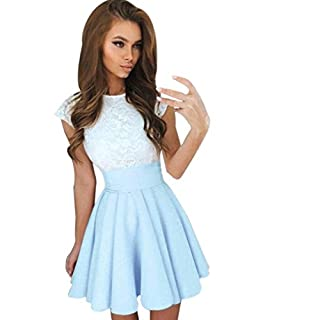 Women Dresses,Womens Lace Party Cocktail Mini Dress Ladies Summer Short Sleeve Skater Dresses (M, Sky Blue)