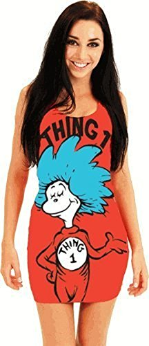(Mighty Fine Dr. Seuss Thing 2 Junior rot Tunic Tank Kleid (Junior X-Large))