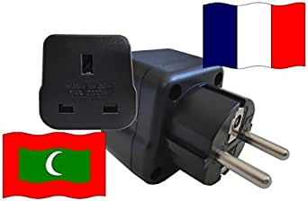 Adaptateur pour le voyage France à Maldives FR - MV Travel Plug FRANCE-voyage (contact de protection, 2200Watt)