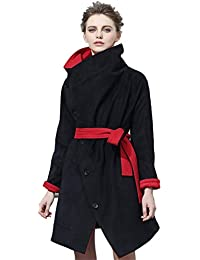 Queenshiny short Women's cape shawl wrap one for two single breasted stand collar both side wear red&black