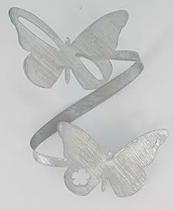 raffhalter gardinenspange aus metall schmetterlinge wei silberfarben. Black Bedroom Furniture Sets. Home Design Ideas