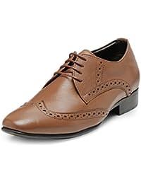 Teakwood Men's Real Genuine Leather Formal Wing Tip Derby Brogues Shoes