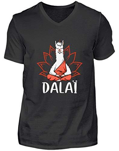 Kostüm Lama Dalai - Dalai Lama Yoga Meditation Geschenk - Herren V-Neck Shirt -XL-Schwarz
