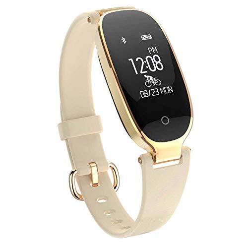 COLOM Fitness Tracker Impermeable Watch para las Mujeres,Rastreador de actividad Con podómetro Monitor sueño Monitor de Ritmo cardiaco Compatible Con iPhone Android-Dorado