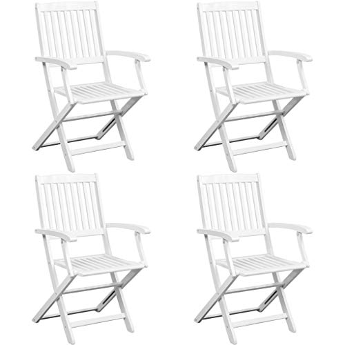 mewmewcat 5 Piece Folding Dining Set Outdoor Wooden Furniture Set for Garden Terrace or Patio Solid Acacia Wood White