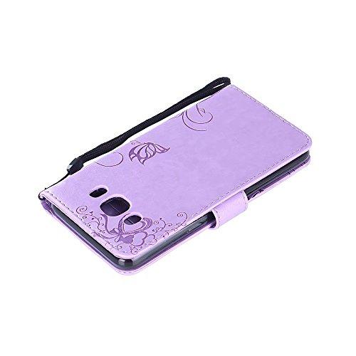 Horizontale Bookstyle Flip Case Premium PU Ledertasche, Solid Color Embossed Blumen Schutzhülle Tasche Tasche mit Lanyard & Stand für Samsung Galaxy J510 ( Color : Rose gold ) Purple