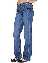 01150e629ff2 Ferosh Fashions Femmes Jambe Large Tête de Mort Poche Bleu Extensible Jeans  Pantalon 6 8 10